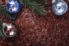 Christmas ornaments and xmas tree on dark holiday background. Xmas theme and Happy New Year Royalty Free Stock Images