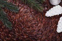 Christmas ornaments and xmas tree on dark holiday background. Xmas theme and Happy New Year Royalty Free Stock Photos