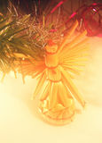 Christmas ornamnet on fir. Christmas toy, background whit dream tone stock image