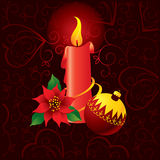 Christmas ornate background with candle Royalty Free Stock Photo