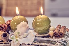 Christmas table decoration with candles Royalty Free Stock Images