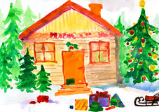 Christmas ornate winter home in forest. Childlike drawing. Stock Images