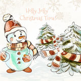 Christmas outdoor illustration with pretty little snowman Stock Image