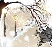 Christmas outdoor scenery with snow, street, lamps and park benc Stock Photo