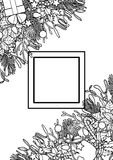 Christmas Outline Angular Composition. Christmas angular composition. Nature corner pattern with square frame and black and white new year objects for greeting Stock Photography