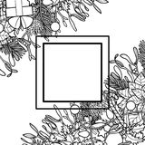 Christmas Outline Angular Composition. Christmas plants with objects angular composition. Nature corner square new year black and white set for greeting cards Royalty Free Stock Image