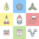 Christmas outline color icons. Vector various christmas new year outline light pastel color icons set Stock Photo