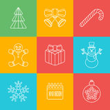 Christmas outline icon set on colored back Stock Photography