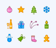 Christmas outline icons Royalty Free Stock Images
