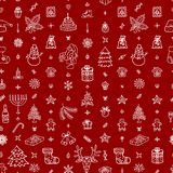 Christmas outline icons seamless pattern. With New Year tree, snowflakes, gifts. Happy winter holiday wallpaper with decorative elements. Vector concept outline Stock Photo