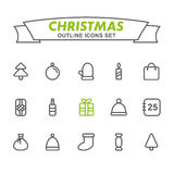 Christmas outline icons set. Royalty Free Stock Images