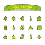 Christmas outline icons set. Stock Images