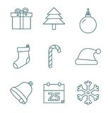 Christmas outline icons Stock Images