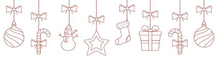 Christmas outline ornaments hanging Royalty Free Stock Photos
