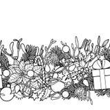 Christmas Outline Seamless Border Stock Images