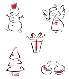 Christmas outline set Stock Images