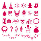 Christmas outline style icons set Royalty Free Stock Photos