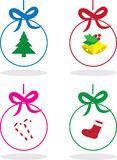 Christmas Outlined Ornaments Royalty Free Stock Images
