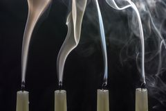 When Christmas is over, the candles are blown out royalty free stock images