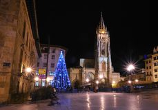 Christmas in Oviedo, Asturias. Royalty Free Stock Photo