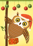 Christmas owl. Under the Christmas tree balls royalty free illustration