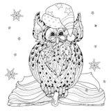 Christmas Owl on book Stock Image