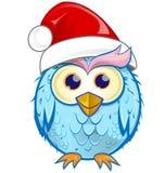 Christmas owl cartoon. Isolated on white background royalty free illustration