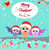 Christmas Owl Chat Communication Bubble Sitting on Stock Images