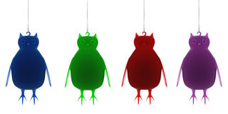 Christmas Owl decorations. Hanging on white background. Xmas Owl decorations. High quality render Stock Photo