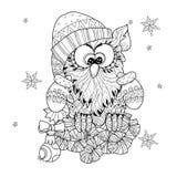 Christmas Owl on fir tree branch Stock Photo