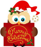 Christmas owl holding a Merry Christmas Royalty Free Stock Photos