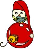 Christmas owl with red glass ball royalty free illustration