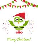 Christmas owl in Santa hat and beard. Vector holiday illustration. Christmas card. Stock Image