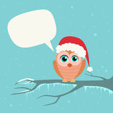 Christmas Owl Santa Hat Chat Communication Bubble Stock Images