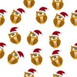 Christmas owl in santa hat Stock Image