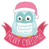 Christmas owl in Santa hat with ribbon Royalty Free Stock Image