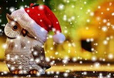 Christmas, Owl, Santa Hat, Snow Royalty Free Stock Photography