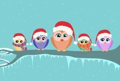 Christmas Owl Sitting on Tree Branch Winter. Flat Vector Illustration royalty free illustration