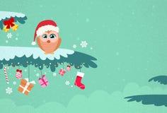 Christmas Owl Sitting on Tree Branch Winter Stock Photo