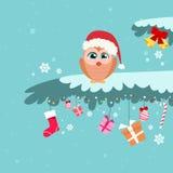 Christmas Owl Sitting on Tree Branch Winter Royalty Free Stock Photo