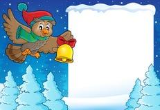 Christmas owl theme frame 1 Royalty Free Stock Photo