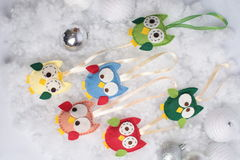 Christmas owls and balls Royalty Free Stock Images