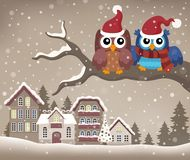 Christmas owls on branch theme image 2 Stock Images