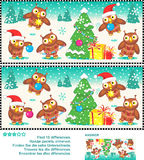 Christmas owls find the differences picture puzzle. Christmas or New Year visual puzzle: Find the ten differences between the two pictures  - owls trimming the Stock Photography