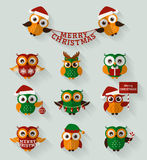 Christmas owls. Flat icons. Vector set. Stock Photos