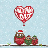 Christmas owls Stock Images