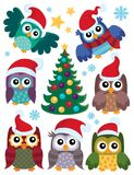 Christmas owls thematic set 1 Royalty Free Stock Photography