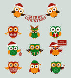 Christmas owls. Vector set. Royalty Free Stock Photos