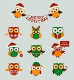 Christmas owls. Vector set. vector illustration