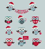 Christmas owls. Vector set. Royalty Free Stock Photo